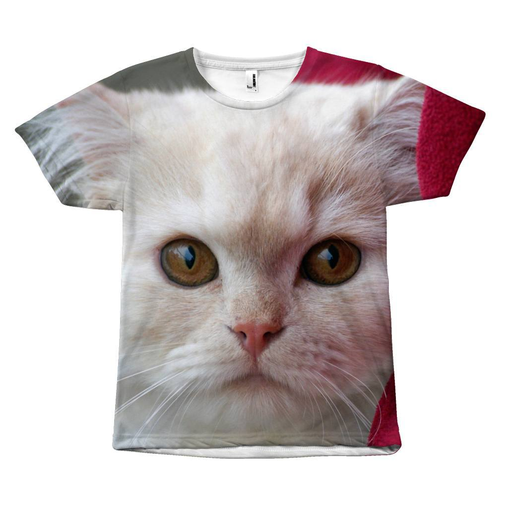 Pure White Cute Cat Face Design T-Shirt All Over Print teelaunch White Cat S