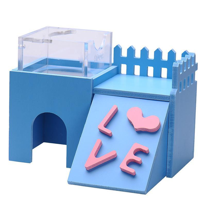 Rabbit Nest Toy Wooden House Rabbits Pet Clever Blue