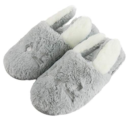 Rabbit Plush Indoor House Shoes Pet Clever Gray 5-6.5