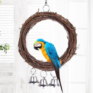 Rattan Ring Stand Holder Bird Toy with 3 Bells Standing Birds Pet Clever