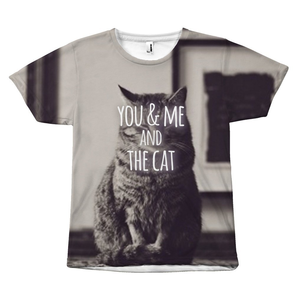"Retro Statement ""You & Me and the Cat Design"" T-Shirt All Over Print teelaunch You & Me S"