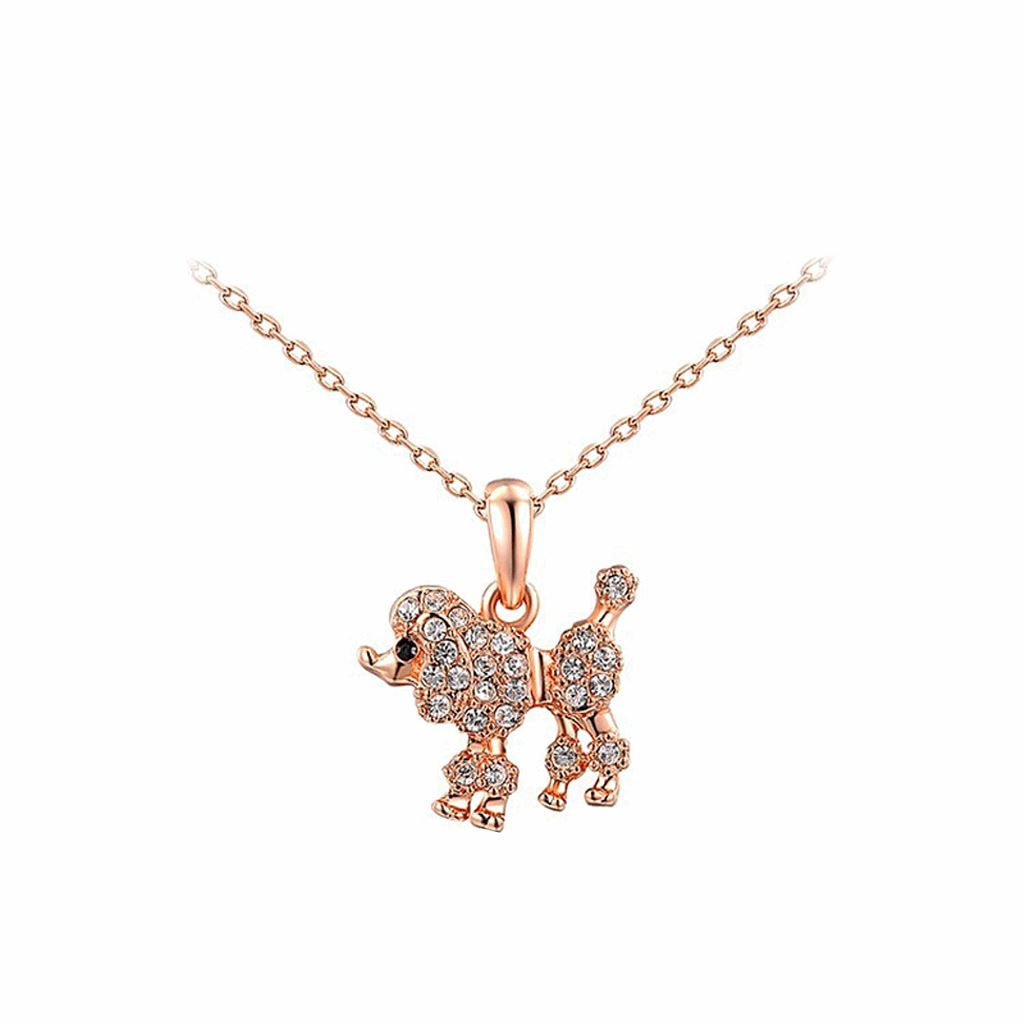 Rose Gold Plated Statement Cute Dog Necklace Dog Design Jewelry Pet Clever