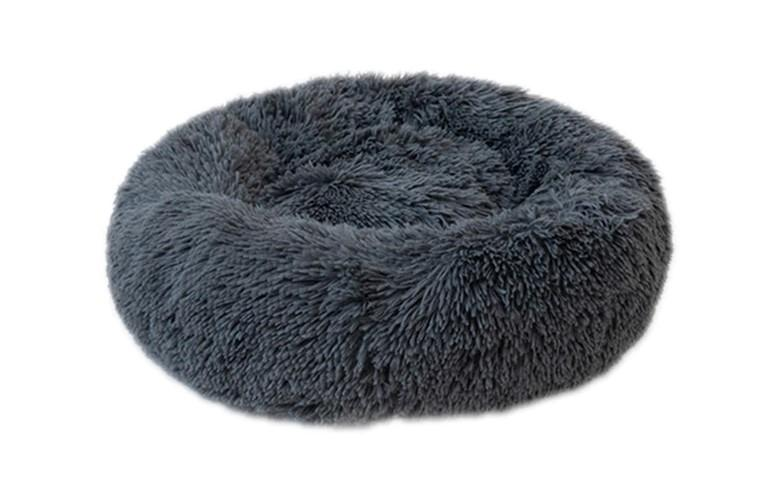 Round Fluffy Pet Calming Bed  Dog Beds & Blankets Pet Clever DeepGray S