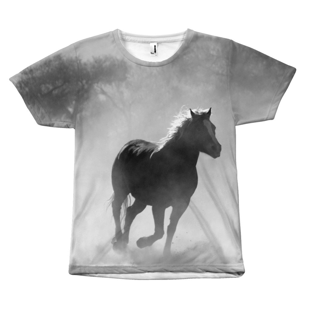 Run Free Like a Horse Design T-Shirt All Over Print teelaunch B&W Horse S