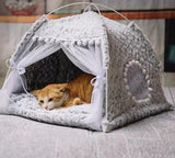 Semi-Enclosed Tent Cat House Dog Beds & Blankets Pet Clever