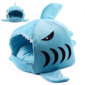 Shark Cat House with Removable Bed Cushion Cat Beds & Baskets Pet Clever Light Blue