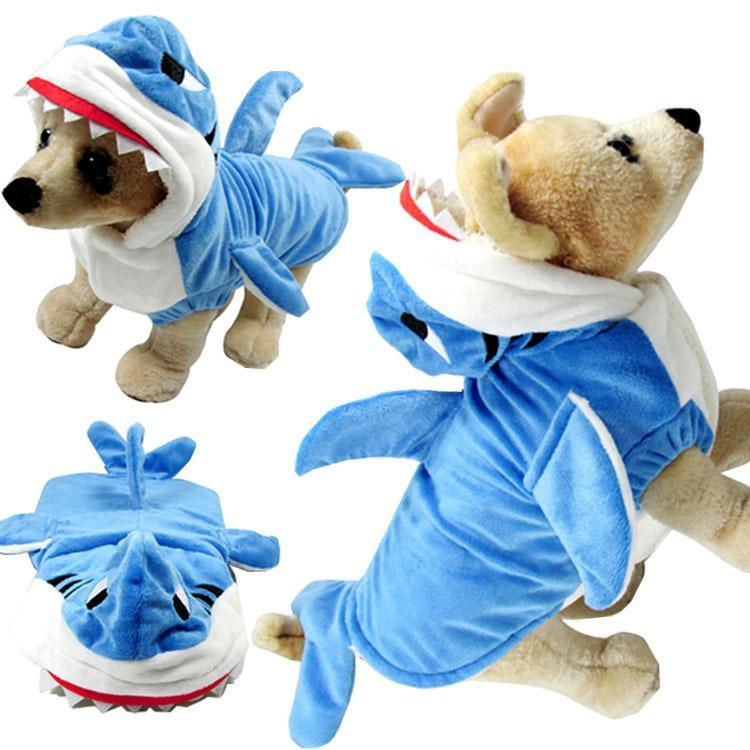 Shark Costume Clothes with Hoodie Jumpsuit Cat Clothing Pet Clever