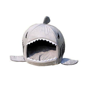Shark Dog House with Removable Bed Cushion Dog Beds & Blankets Pet Clever