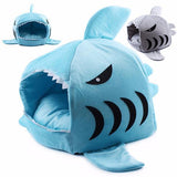 Shark Dog House with Removable Bed Cushion Dog Beds & Blankets Pet Clever Small Blue