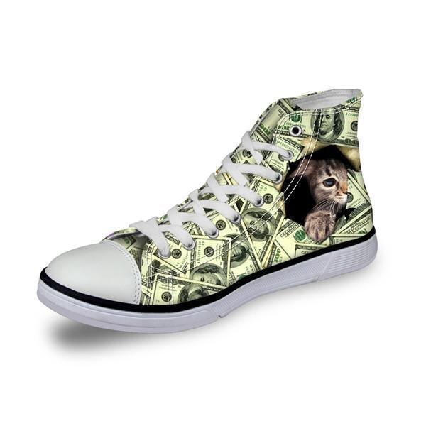 Shy Cat in Dollars Print High Top Canvas Women Shoes Cat Design Footwear Pet Clever US 5 - EU35 -UK3