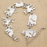 Silver Egyptian Bastet Chain Link Bracelets Cat Design Jewelry Pet Clever