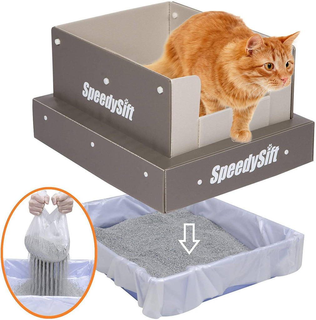 SpeedySift Litter Box with Disposable Sifting Liners Cat Litter Boxes & Litter Trays Pet Clever