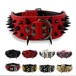 Spiked Leather Dog Collar(15 Colors)