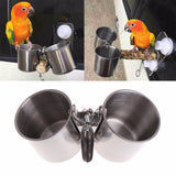 Stainless Steel Bird Feeder Cup Dish with Clip Bird Feeders Pet Clever