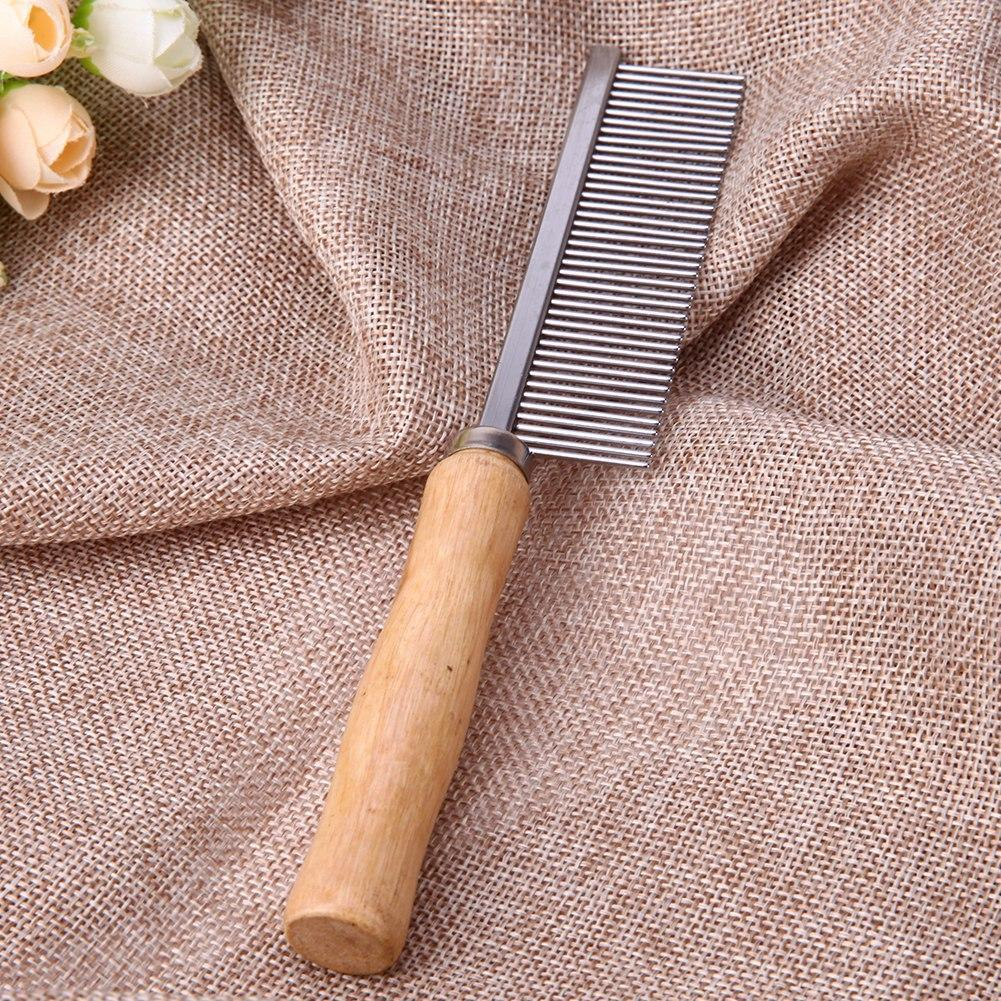 Stainless Steel Comb with Wooden Handle Grooming Tool Comb Pet Clever