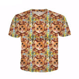 Stylish Cute Cat All Over Print T-Shirt Prints Cat Design T-Shirts Pet Clever Hamburg flower 4XL