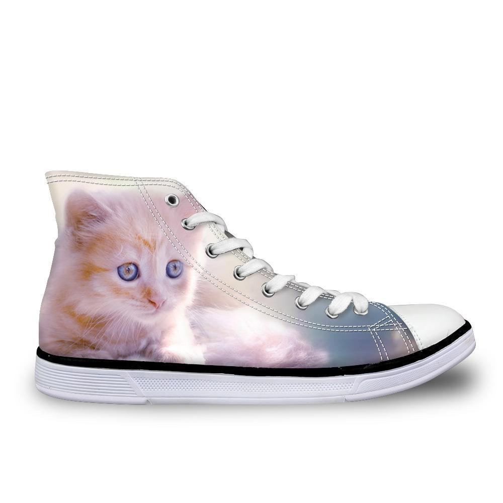 Stylish Women High-Top Canvas Exploring Cat Shoes Cat Design Footwear Pet Clever US 5 - EU35 -UK3