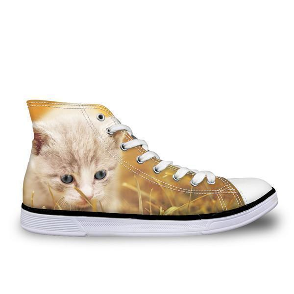 Stylish Women High-Top Canvas Sad Cat Shoes Cat Design Footwear Pet Clever US 5 - EU35 -UK3