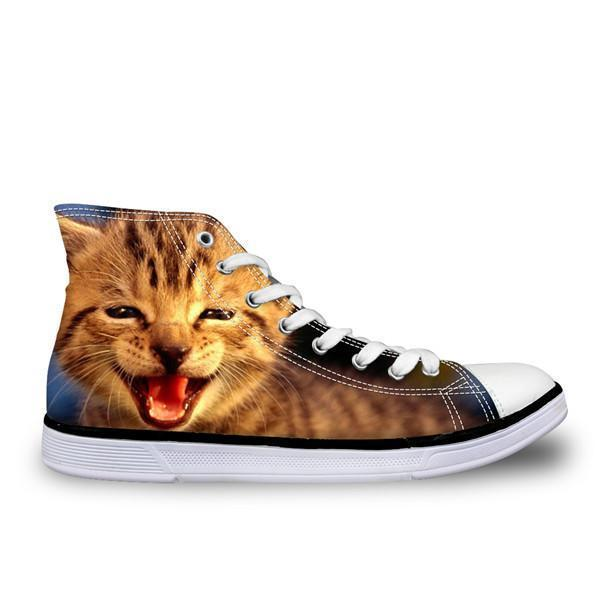 Stylish Women High-Top Canvas Smiley Cat Shoes Cat Design Footwear Pet Clever US 5 - EU35 -UK3