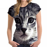Stylish Women's Lovely Cat Printed Design Top Tees Cat Design T-Shirts Pet Clever Style 2 S