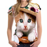 Stylish Women's Lovely Cat Printed Design Top Tees Cat Design T-Shirts Pet Clever Style 7 S