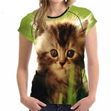 Stylish Women's Lovely Cat Printed Design Top Tees Cat Design T-Shirts Pet Clever Style 5 S