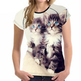 Stylish Women's Lovely Cat Printed Design Top Tees Cat Design T-Shirts Pet Clever Style 1 S
