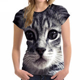 Stylish Women's Lovely Cat Printed Design Top Tees Cat Design T-Shirts Pet Clever
