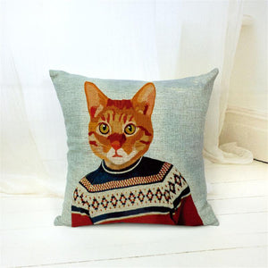 Suited Cat Throw Cushion Pillow Cover Cat Design Pillows Pet Clever