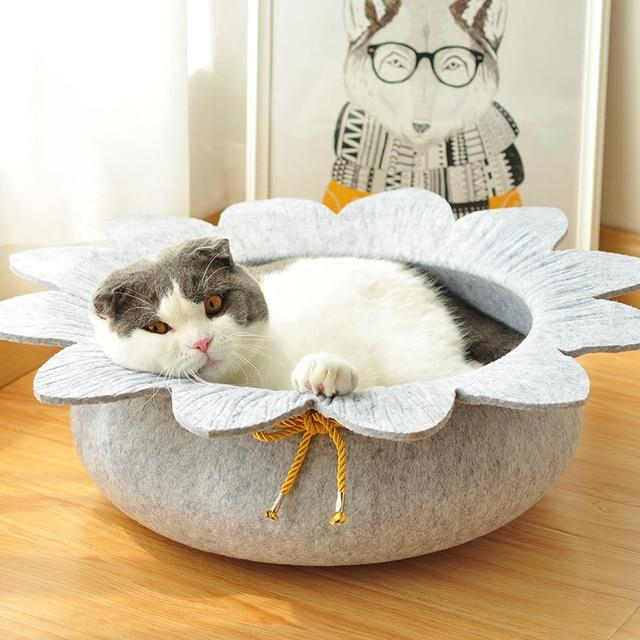 Sunflower Shaped Pet Sleeping Bed Dog Beds & Baskets Pet Clever Gray
