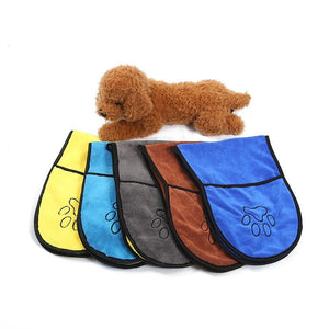 Super Drying Pet Towel with Paw Striped Pocket  Towels Pet Clever