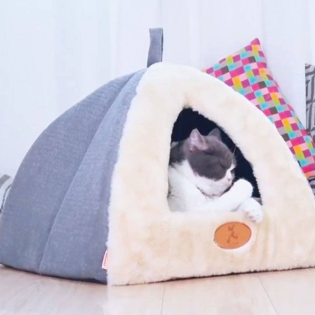 Tent Shaped Cat House Bed with Hanging Ball Toy Cat Beds & Baskets Pet Clever