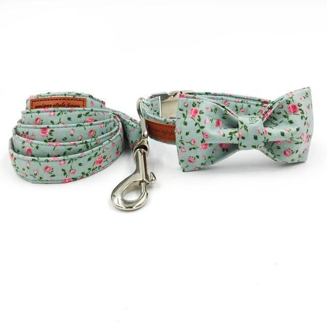 The Floral™ Fashion Pet Set of Collar & Leash Artist Collars & Harnesses Pet Clever bow and leash necklace XS