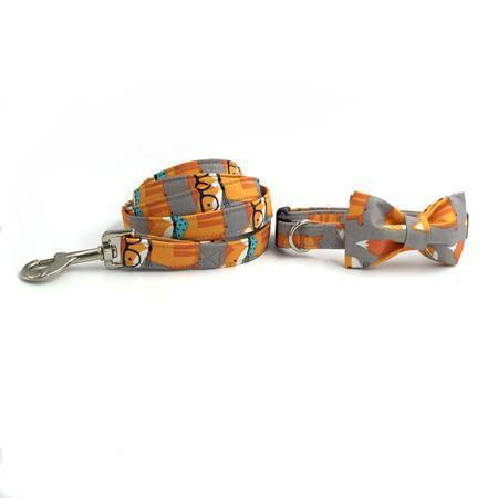 The Fox™ Fashion Pet Set of Collar & Leash Artist Collars & Harnesses Pet Clever Collar Bow and Leash XS