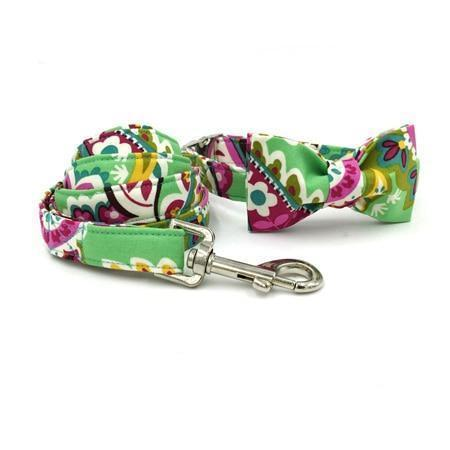 The Green Flowers™ Fashion Pet Set of Collar & Leash Artist Collars & Harnesses Pet Clever collar bow leash XS