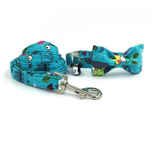 The Green Frog™ Fashion Pet Set of Collar & Leash Artist Collars & Harnesses Pet Clever collar bow and leash XS