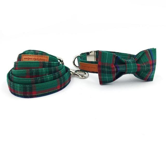 The Green Plaid™ Fashion Pet Set of Collar & Leash Artist Collars & Harnesses Pet Clever collar bow and leash XS