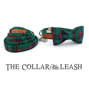 The Green Plaid™ Fashion Pet Set of Collar & Leash Artist Collars & Harnesses Pet Clever