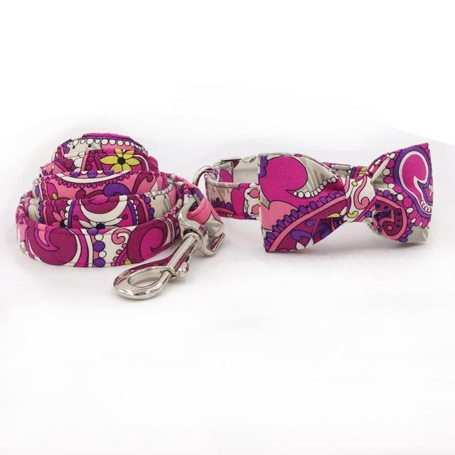 The Pink Power™ Fashion Pet Set of Collar & Leash Artist Collars & Harnesses Pet Clever collar bow and leash XS