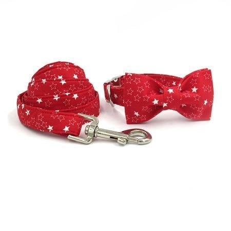 The Red Stars™ Fashion Pet Set of Collar & Leash Artist Collars & Harnesses Pet Clever collar bow and leash XS