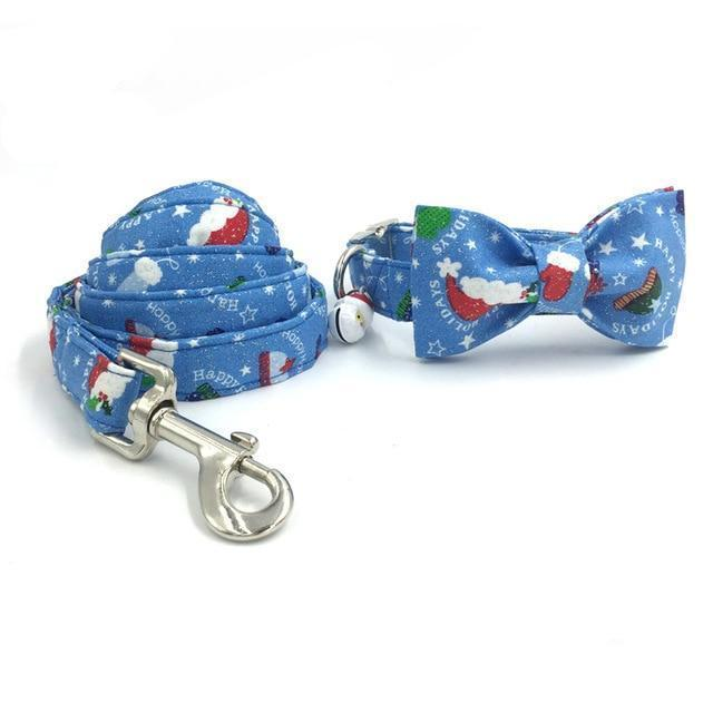 The Santa™ Fashion Pet Set of Collar & Leash Artist Collars & Harnesses Pet Clever collar bow and leash XS