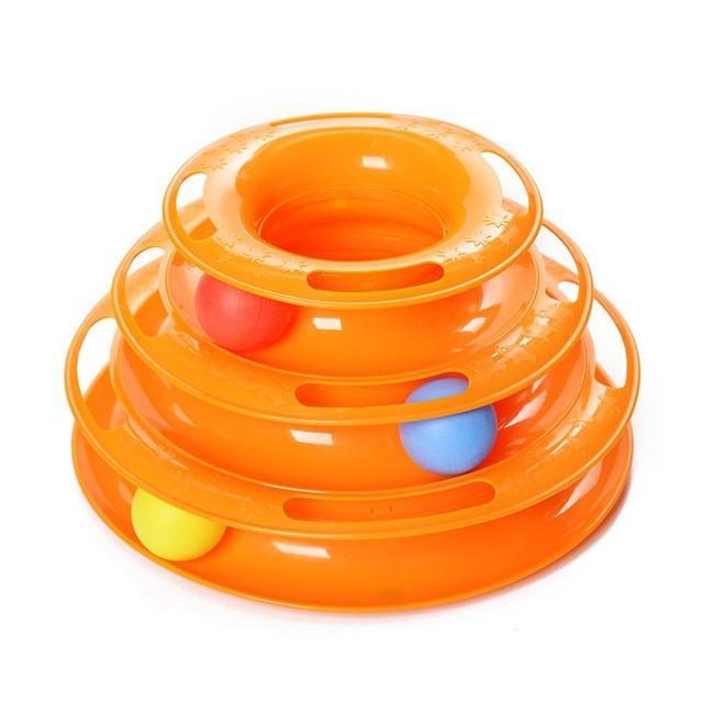 Three Levels Tower Tracks Cat Toy with Pads Bottom Cat Toys Pet Clever Orange