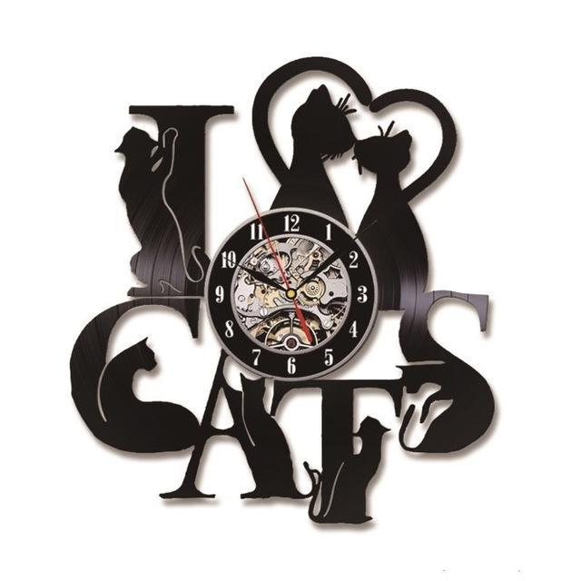 "Unique Decorative ""I Love Cats"" Wall Vinyl LED Clock Home Decor Cats Pet Clever Clear Style 7 Colors Changing"