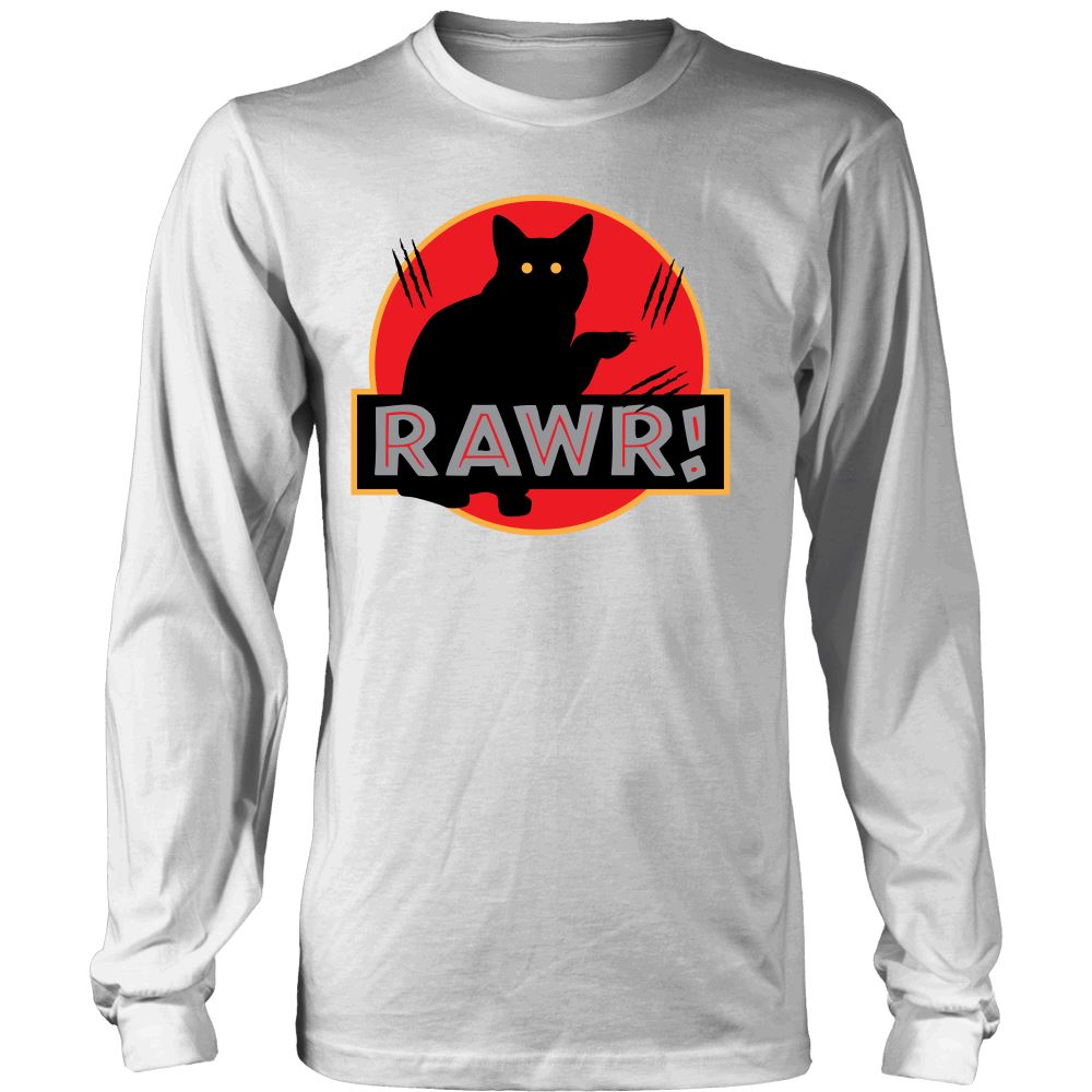 "Unique Design ""Dinosaur RAWR!"" Shirt & Hoodies T-shirt teelaunch District Long Sleeve White S"