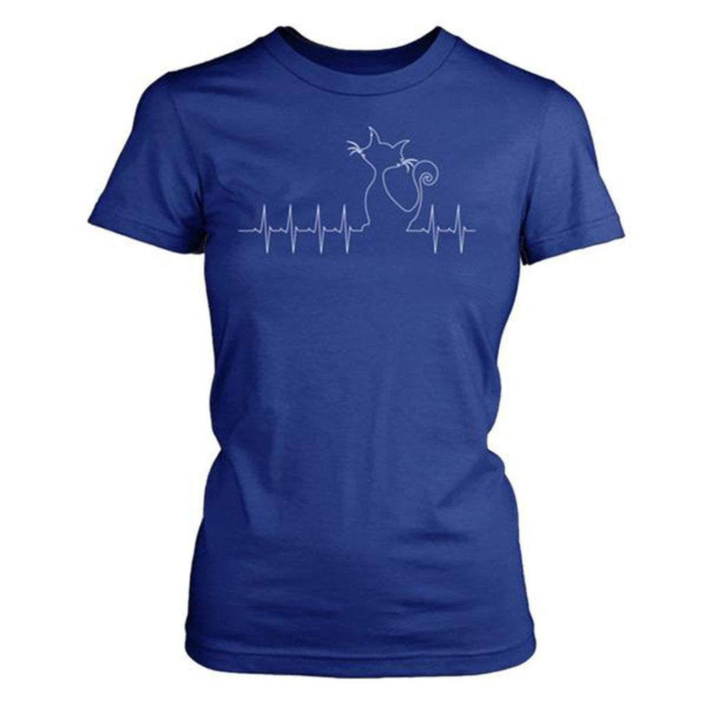 "Unique Design ""Graphic Cat Heartbeat"" T-shirt teelaunch District Made Womens Shirt Royal Blue XS"