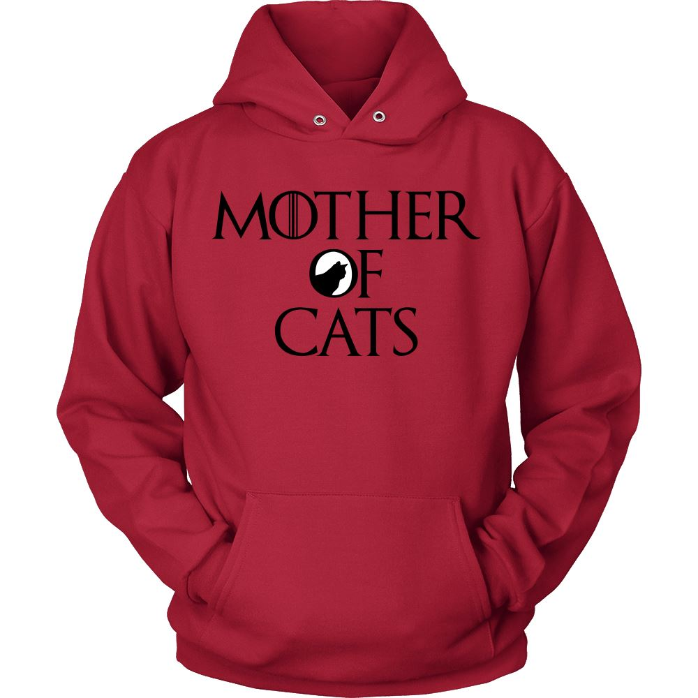 "Unique Design ""Mother Of Cats"" Shirt T-shirt teelaunch Unisex Hoodie Red S"