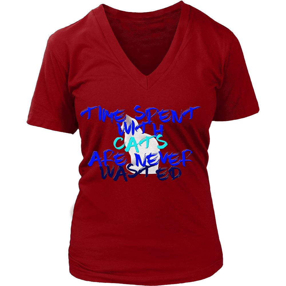 "Unique Design ""Time Spent"" Shirt T-shirt teelaunch District Womens V-Neck Red S"