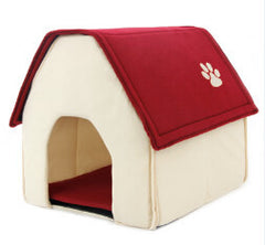 Home Shape Pet House Bed With Removable Cushion & Waterproof Bottom