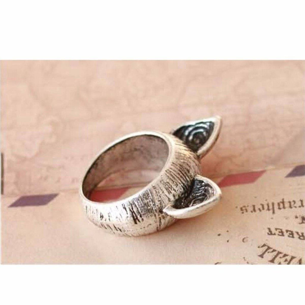 Vintage Cat Ears Design Ring Cat Design Jewelry Pet Clever Silver