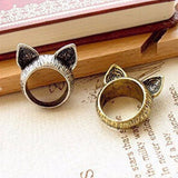 Vintage Cat Ears Design Ring Cat Design Jewelry Pet Clever